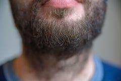 Sluit omhoog van lager deel van mensen` s gezicht met baard royalty-vrije stock foto