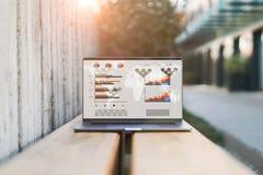 Sluit omhoog van laptop met grafieken, grafieken, programma's op het scherm op bank openlucht Computer op houten bureau Online On royalty-vrije stock afbeelding