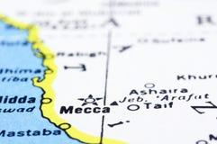 Sluit omhoog van Mekka op kaart, Saudi-Arabië Stock Foto's