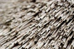 Sluit omhoog van met stro bedekt dak in Bretagne Frankrijk Royalty-vrije Stock Fotografie