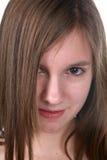 Sluit omhoog van mooi tienersgezicht en oog royalty-vrije stock foto