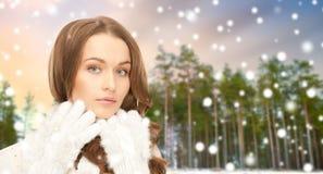 Sluit omhoog van mooie vrouw over de winterbos royalty-vrije stock foto's