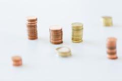 Sluit omhoog van muntstukkenkolommen Royalty-vrije Stock Fotografie