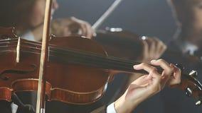 Sluit omhoog van musicus het spelen viool Zwarte rookachtergrond stock video