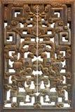 Sluit omhoog van oud houten Chinees venster Royalty-vrije Stock Foto's