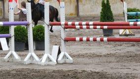 Sluit omhoog van paardvoeten Paardlooppas op het zand en sprongen door een barrière stock footage