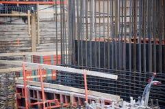 Sluit omhoog van reenforcment op een bouwwerf stock foto