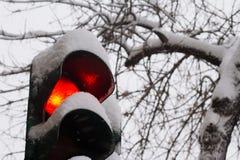 Sluit omhoog van rood die verkeerslicht in sneeuw wordt behandeld Stock Foto's
