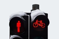 Sluit omhoog van rood die verkeerslicht in sneeuw wordt behandeld Stock Afbeelding