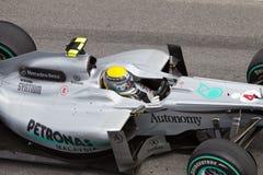 Sluit omhoog van Rosberg bij Maleise F1 Stock Afbeeldingen