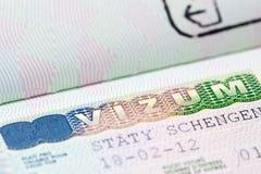 Sluit omhoog van schengenvisum Royalty-vrije Stock Foto's