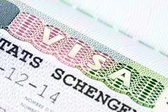 Sluit omhoog van schengenvisum Stock Fotografie