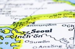 Sluit omhoog van Seoel op kaart, Korea Stock Fotografie