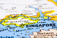 Sluit omhoog van Singapore op kaart Stock Afbeelding