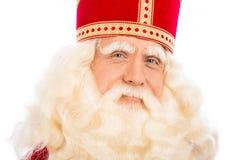 Sluit omhoog van Sinterklaas op witte achtergrond Royalty-vrije Stock Fotografie