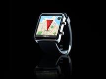 Sluit omhoog van slim horloge met gps navigatie app Stock Foto's