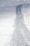 Sluit omhoog van sneeuwspoor na sneeuw groomer Royalty-vrije Stock Afbeelding