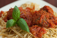 Sluit omhoog van spaghetti en vleesballetjes Royalty-vrije Stock Foto's