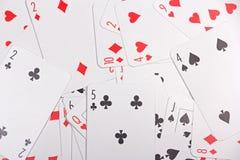Sluit omhoog van speelkaarten met aantallen Stock Fotografie