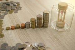Sluit omhoog van stapel muntstukken Stock Afbeelding