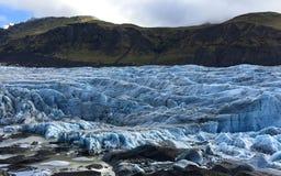 Sluit omhoog van Svinafellsjokull-gletsjer in IJsland Stock Afbeelding