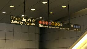 Sluit omhoog van teken van de de metropost van The Times het Vierkante, New York stock video