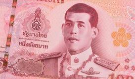 Sluit omhoog van 100 Thais Bahtbankbiljet Royalty-vrije Stock Afbeeldingen