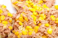 Sluit omhoog van tonijn en suikermaïs op aardappel in de schil stock afbeeldingen