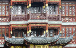 Sluit omhoog van Traditionele Chinese Stijl Houten Architectuur Stock Fotografie