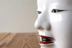 Sluit omhoog van Traditionele Japanse die theatermaskers van seramic worden gemaakt Royalty-vrije Stock Afbeeldingen