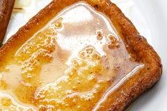 Sluit omhoog van Traditionele Spaanse torrijas (Franse toosts) Desser Royalty-vrije Stock Afbeelding