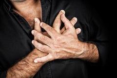 Sluit omhoog van twee handen grijpend een borst Stock Afbeelding