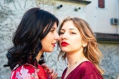 Sluit omhoog van twee lesbische vrienden, vastbesloten bekijken ??n blonde en het andere brunette elkaar royalty-vrije stock foto