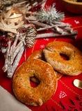 Sluit omhoog van typische Napolitaanse Kerstmis zoete geroepen roccoco royalty-vrije stock afbeeldingen