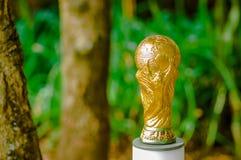 Sluit omhoog van van valse gouden trofee in de vorm van de bol op een vage aardachtergrond Royalty-vrije Stock Afbeeldingen