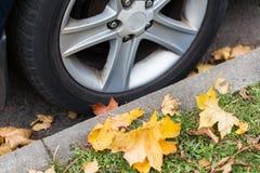 Sluit omhoog van van de autowiel en herfst bladeren Stock Afbeelding