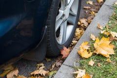 Sluit omhoog van van de autowiel en herfst bladeren Royalty-vrije Stock Afbeelding