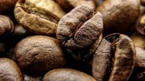 Sluit omhoog van vele geroosterde koffiebonen stock afbeelding