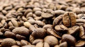 Sluit omhoog van vele geroosterde koffiebonen royalty-vrije stock foto