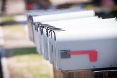 Sluit omhoog van verscheidene brievenbussen Royalty-vrije Stock Fotografie