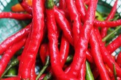 Sluit omhoog van verse rode Spaanse peper stock afbeeldingen