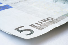 Sluit omhoog van vijf euro Royalty-vrije Stock Fotografie