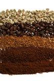 Sluit omhoog van vijf verschillende koffietypes - koffieachtergrond Stock Foto