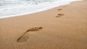 Sluit omhoog van voetafdrukken in nat zand op het strand bij zonsondergang stock afbeelding