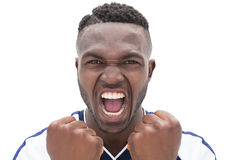 Sluit omhoog van voetbalster het schreeuwen Stock Foto