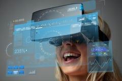 Sluit omhoog van vrouw in virtuele werkelijkheidshoofdtelefoon Stock Fotografie