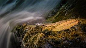 Sluit omhoog van waterval met blad en rots royalty-vrije stock afbeeldingen