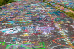 Sluit omhoog van Weggraffiti in Centralia Stock Afbeeldingen
