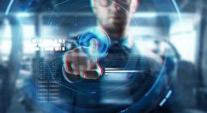 Sluit omhoog van zakenman wat betreft het virtuele scherm Stock Fotografie