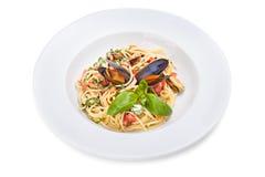 Sluit omhoog van zeevruchtenspaghetti Stock Fotografie